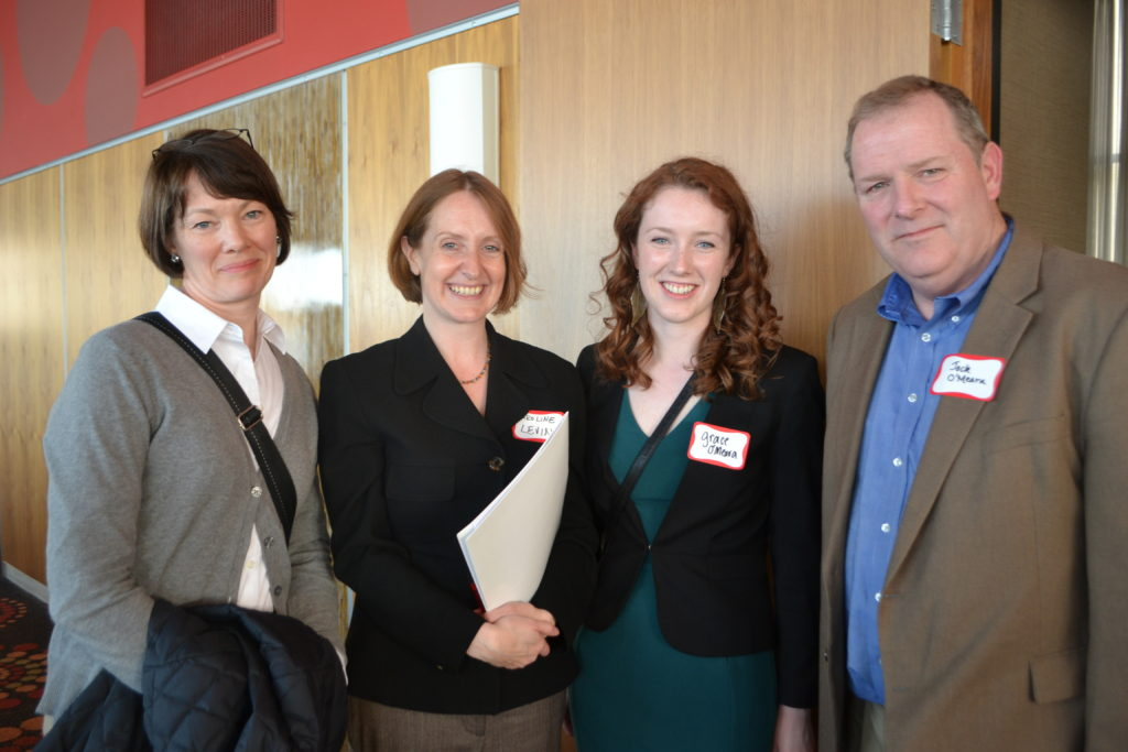 Grace O'Meara, pictured with family and Department Chair Caroline Levine