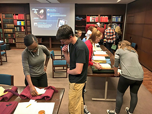 Students had a chance to interact with our copy of the Second Folio (1632) at Special Collections