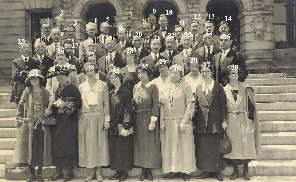 1922 photograph of the English Department on Bascom Hall's front steps
