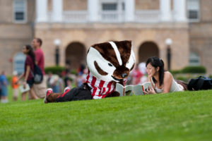 Bucky reading on Bascom Hill