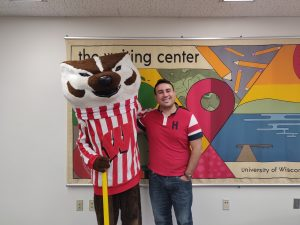 Cris Font-Santiago with Bucky Badger